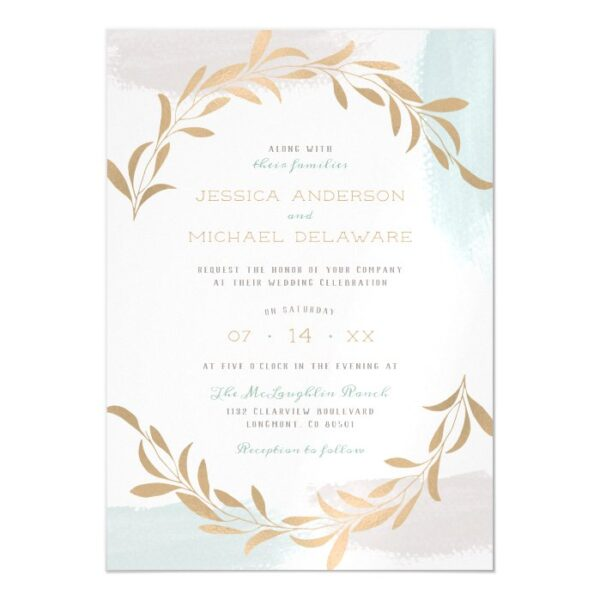 Blue & Tan Painted Brushstrokes Minimalist Wedding Magnetic Invitation