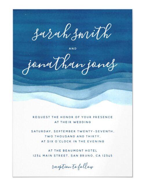 Blue Watercolor Waves & Script Wedding Invitation
