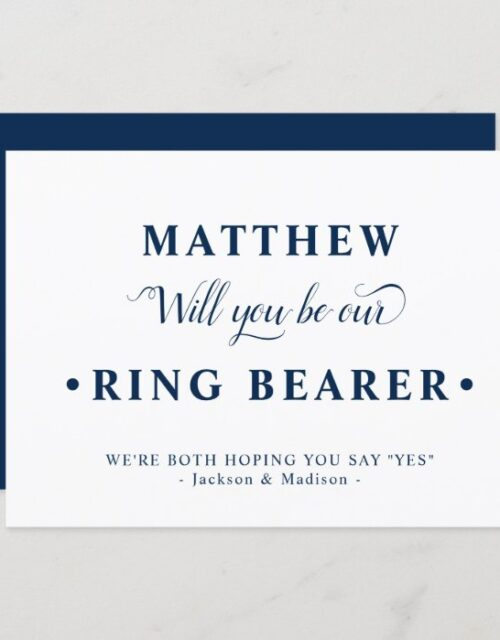 Blue White Minimalist Ring Bearer Proposal Card