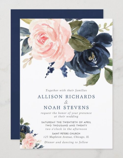 Blush pink and navy blue rose boho wedding invitation