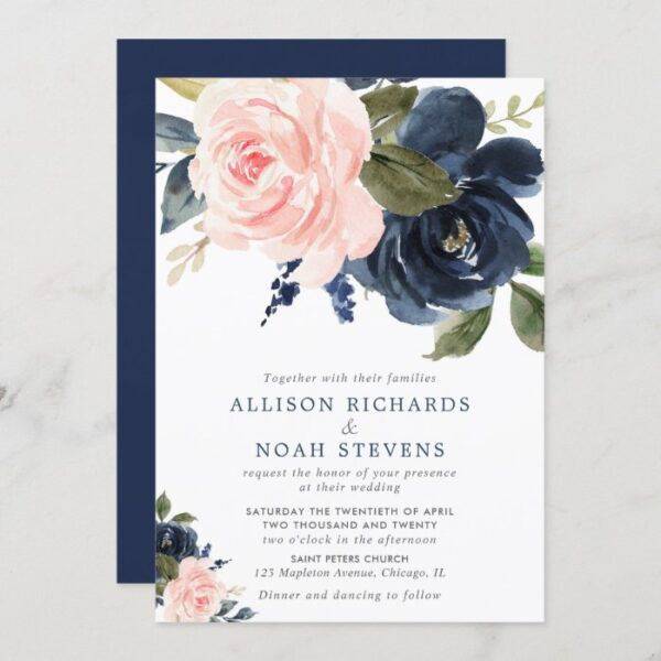 Blush pink and navy blue rose boho wedding invitation