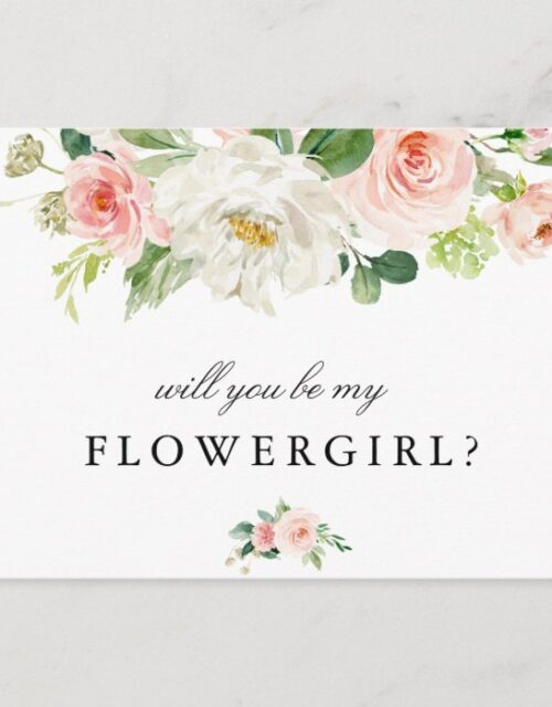 Blush pink floral will you be my flower girl card