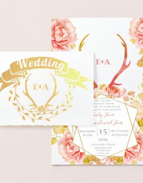 Boho Bohemian Deer Antler and Roses Pink Wedding i Foil Card