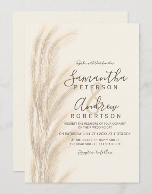 Boho summer pampas grass watercolor wedding invitation