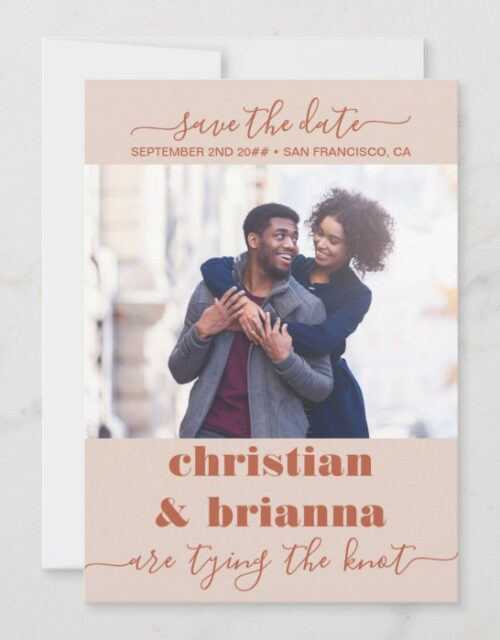 Bold Spice Elegant Script Tying the Knot Photo Save The Date