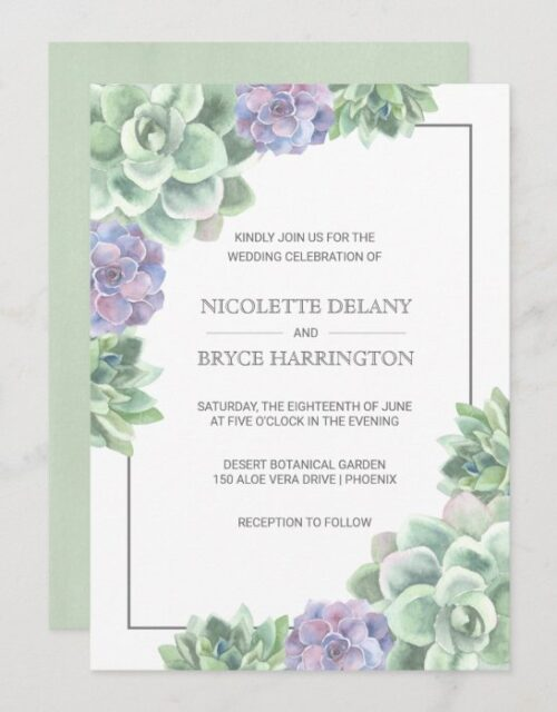 Botanical Green and Purple Succulent Frame Wedding Invitation