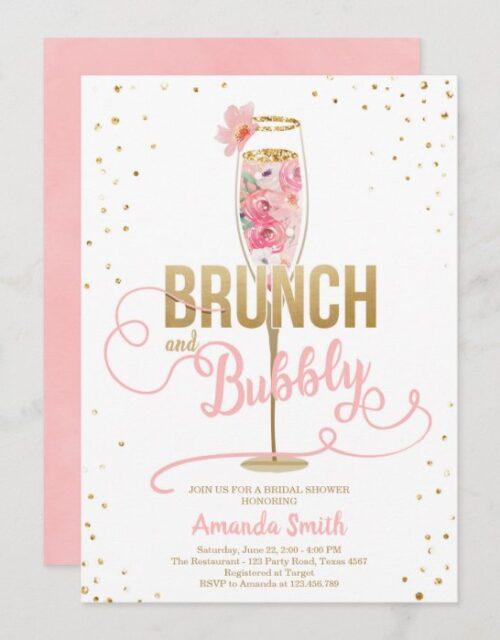 Brunch & Bubbly Bridal Shower Blush Gold Champagne Invitation