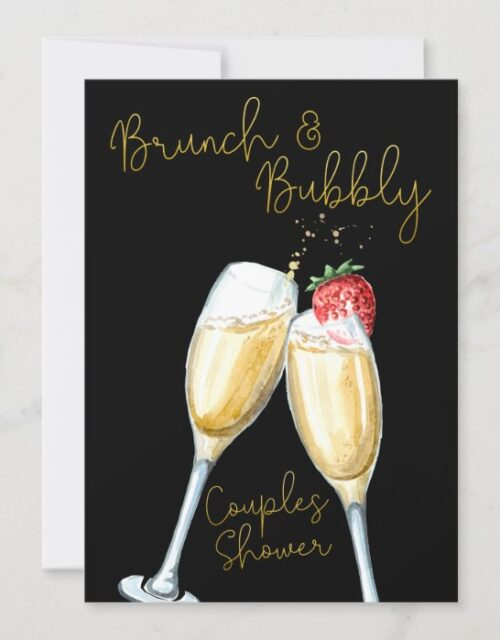 Brunch Bubbly Strawberry Champagne Couples Shower Invitation