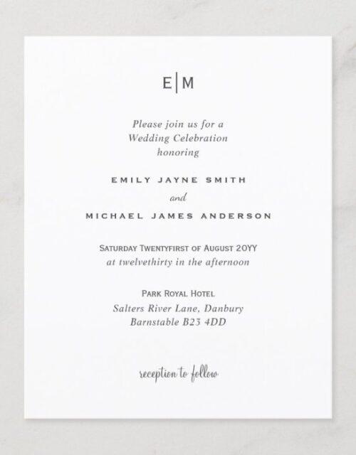 Budget Black White Modern Simple Elegant Wedding