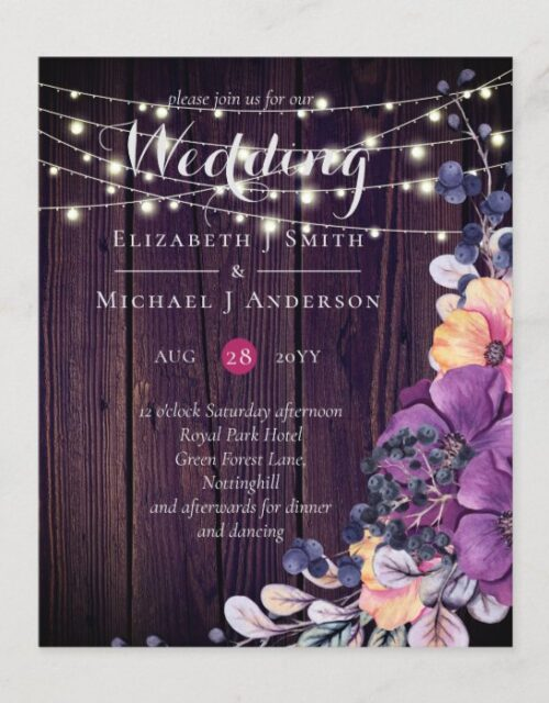 BUDGET Rustic Purple Flowers Orange Wedding Invite