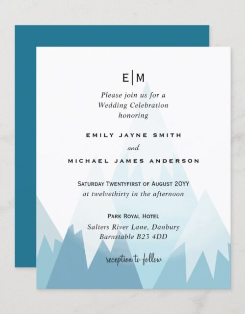 Budget Snowy Mountain Skiing Winter Wedding Invite