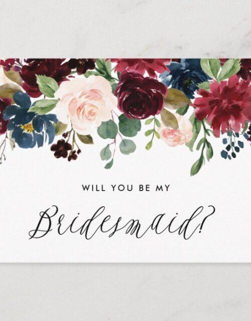Burgundy and Blue Floral Garland Be My Bridesmaid Invitation Postcard