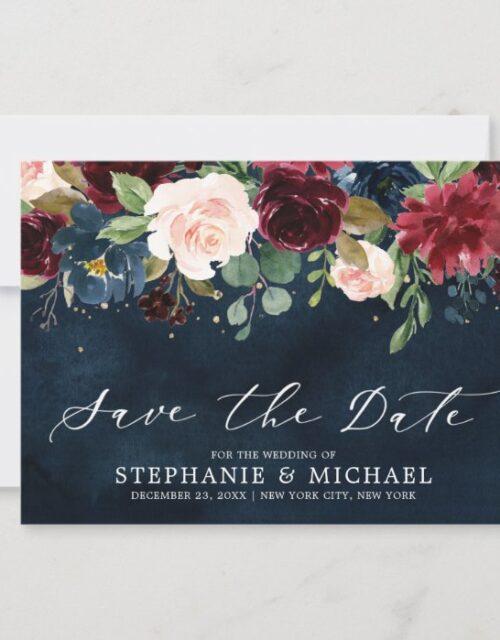 Burgundy Blush Navy Blue Botanical Floral Wedding Save The Date