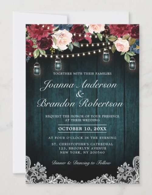Burgundy Floral String lights Mason Jar Wedding Invitation
