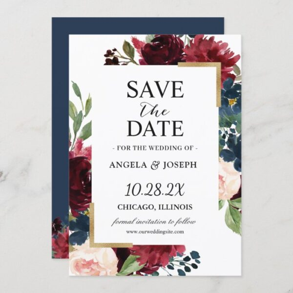 Burgundy Red Blush Blue Floral Modern Glam Wedding Save The Date