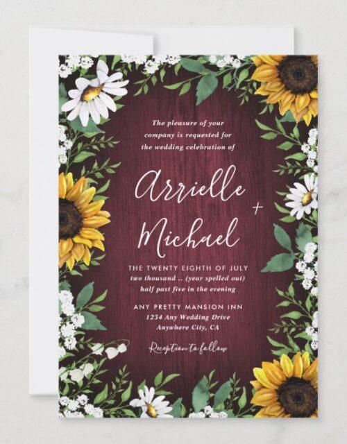 Burgundy Red Sunflower Greenery Wreath Wedding Invitation