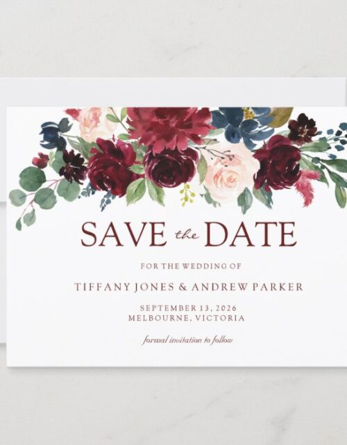 Burgundy Watercolor Floral Save the date