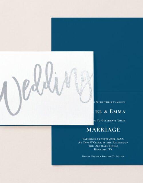 Calligraphy Wedding Invitation Blue Silver Foil