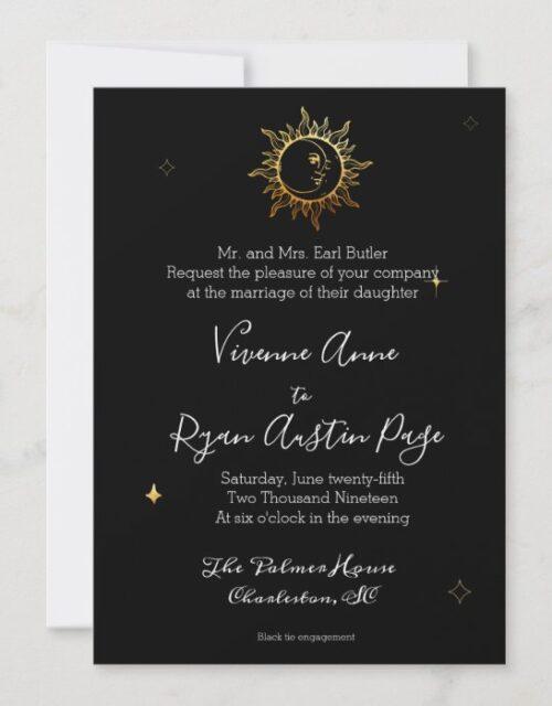 Celestial Boho Gold Foil Wedding Invitation