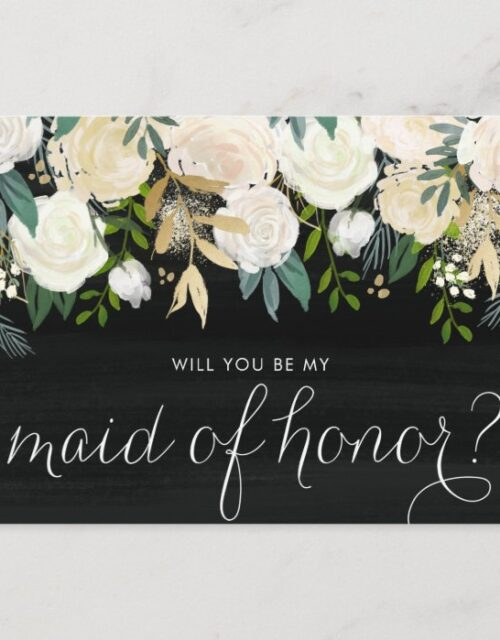 Chalkboard Pale Peonies Be My Maid of Honor Invitation Postcard