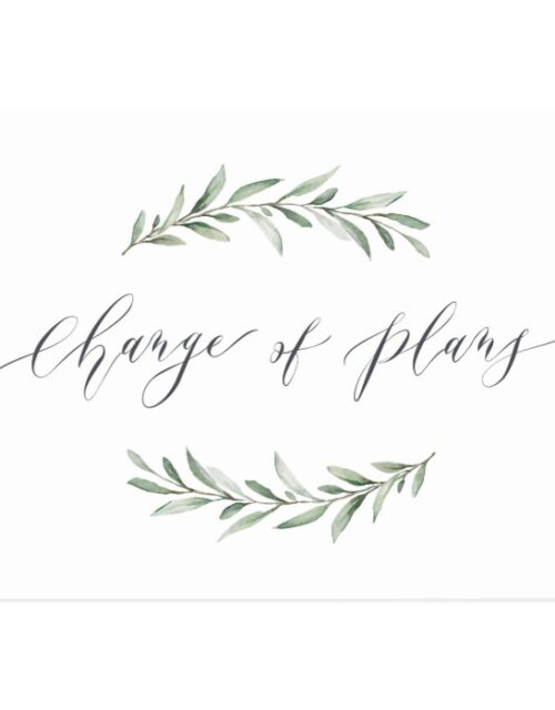 Change of plans greenery wedding postponement postcard