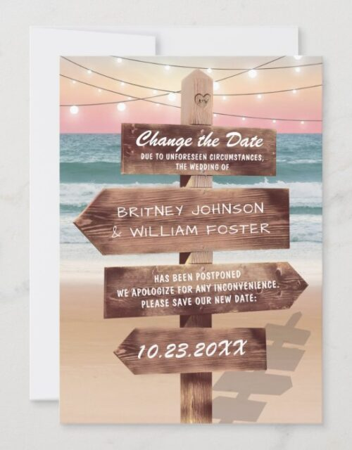 Change The Date Beach Destination Wedding Save The Date