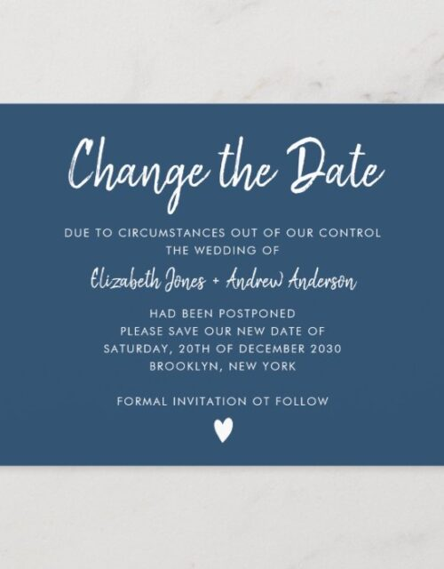 Change the Date Script Minimalist Modern Navy Blue Announcement Postcard