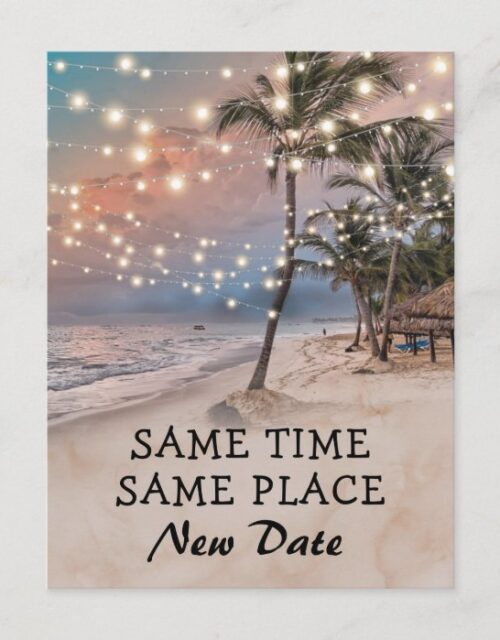 Change The Date Tropical Beach Lights Announcement Postcard