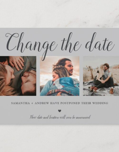 Change the date typography gray 3 photo grid announcement postcard