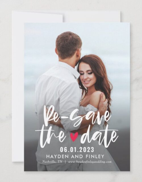 Charming Heart EDITABLE COLOR Resave The Date Card