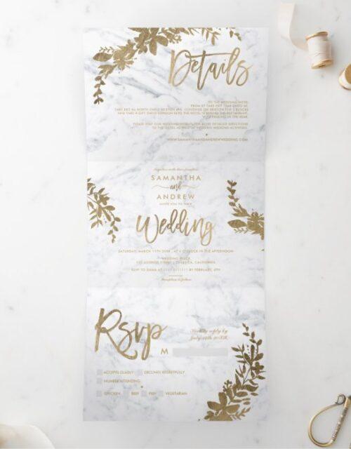 Chic gold Floral white marble chic script wedding Tri-Fold Invitation