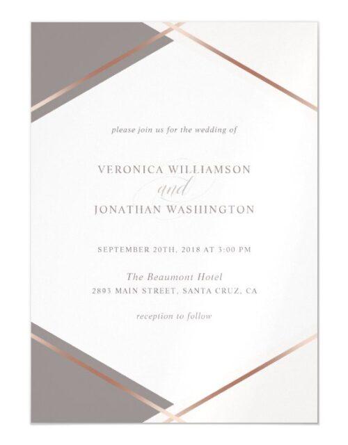 Chic Rose Gold & Blush Pink Geometric Wedding Magnetic Invitation