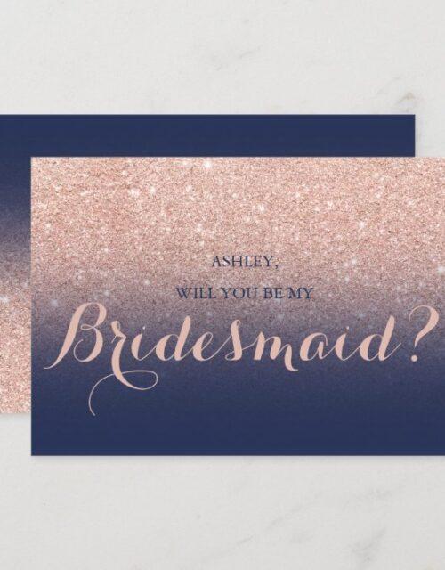 Chic rose gold glitter navy blue be my Bridesmaid Invitation