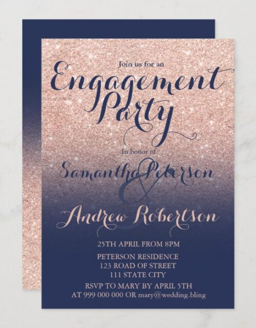 Chic rose gold glitter navy blue engagement party invitation