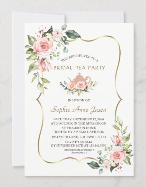 Chic Watercolor Blush Floral Gold Bridal Tea Party Invitation