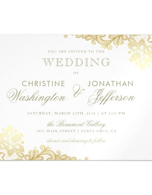 Chic White & Gold Foil Floral Lace Wedding Magnetic Invitation
