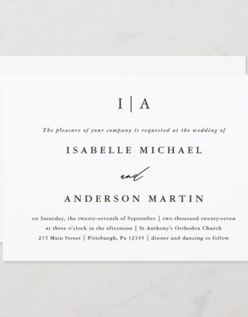 Classic Black and White Monogram Wedding Invitation
