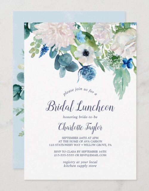 Classic White Flowers Bridal Luncheon Invitation
