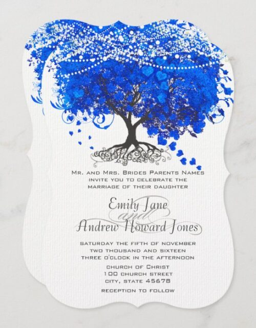 Cobalt Blue Heart Leaf Tree Wedding Invitation
