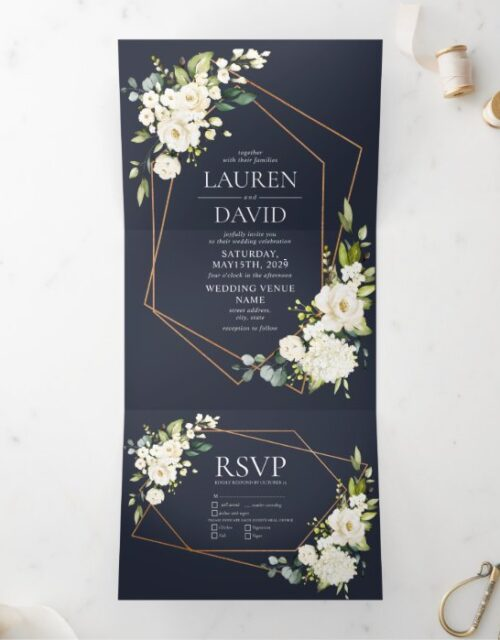 Copper Geometric Blue White Floral  Wedding Tri-Fold Invitation