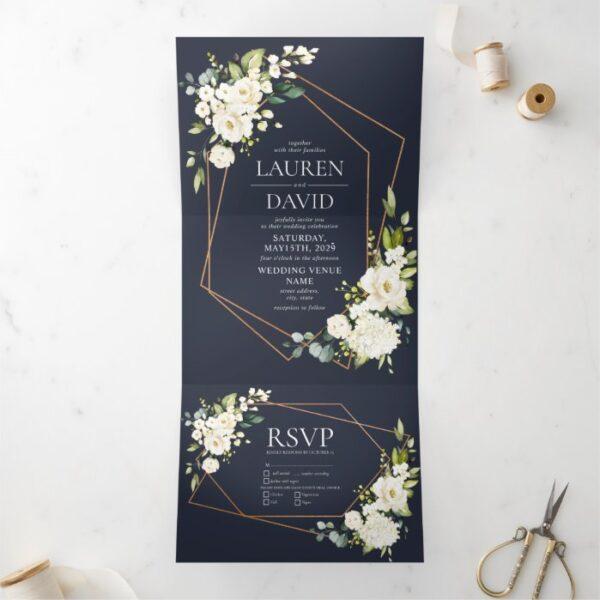 Copper Geometric Blue White Floral  Wedding Tri-Fold Invitation
