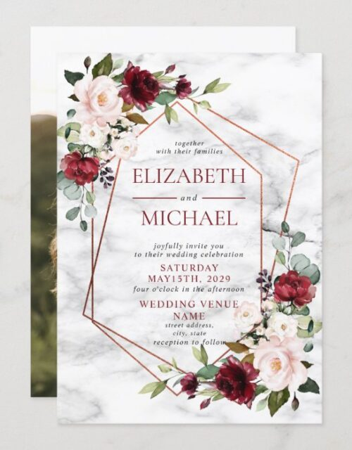 Copper Marble Geometric Burgundy Photo Wedding Invitation