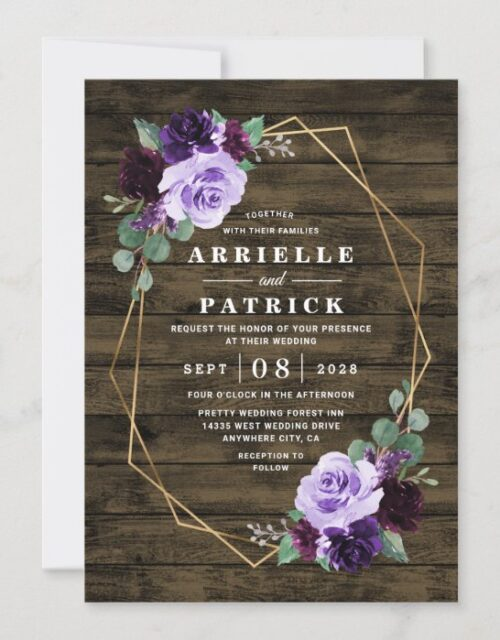 Country Rustic Floral Purple and Gold Wedding Invitation
