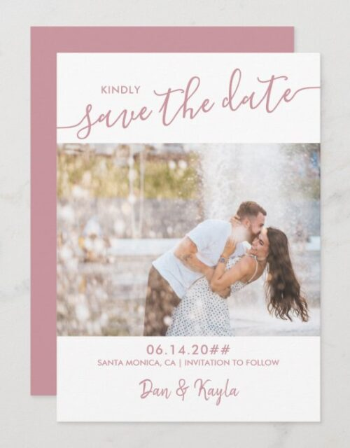Couple Photo and Elegant Script Rose Pink Save The Date