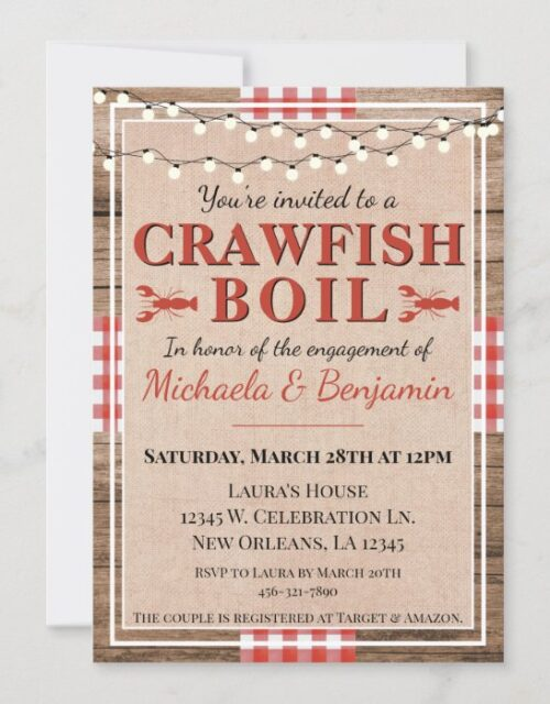 Crawfish Boil Lobster Engagement Party Rustic Invitation