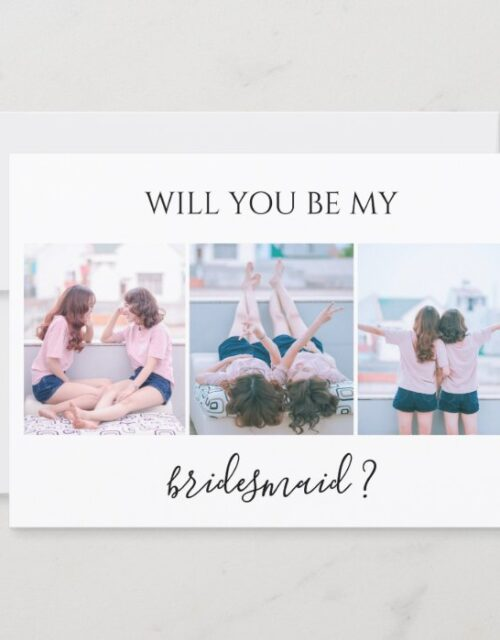 Custom 3 Photo Will You Be My Bridesmaid Card