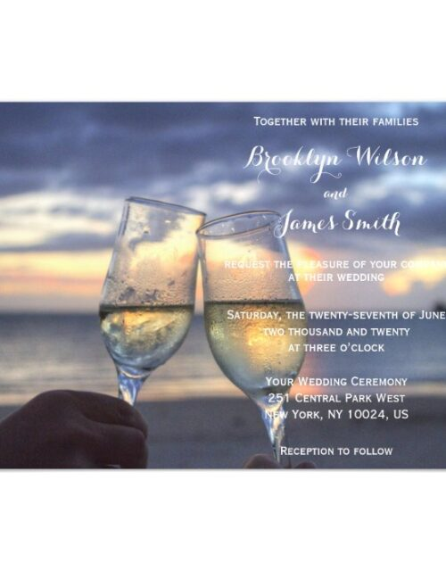 Custom Sunset On Beach Magnet Wedding Invitations