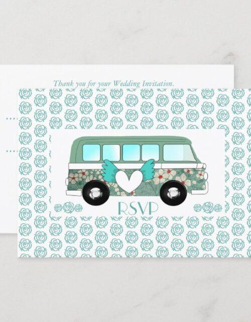 Cute Camper Van Wedding RSVP Invitation