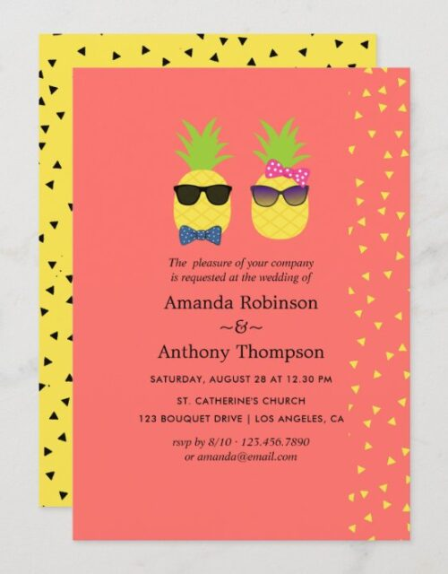 Cute exotic tropical summer Beach Wedding Invitation