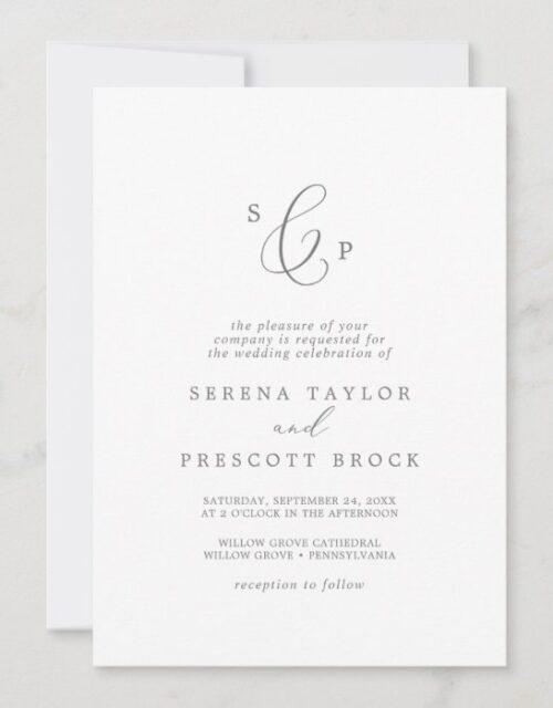 Delicate Silver Formal Monogram Wedding Invitation